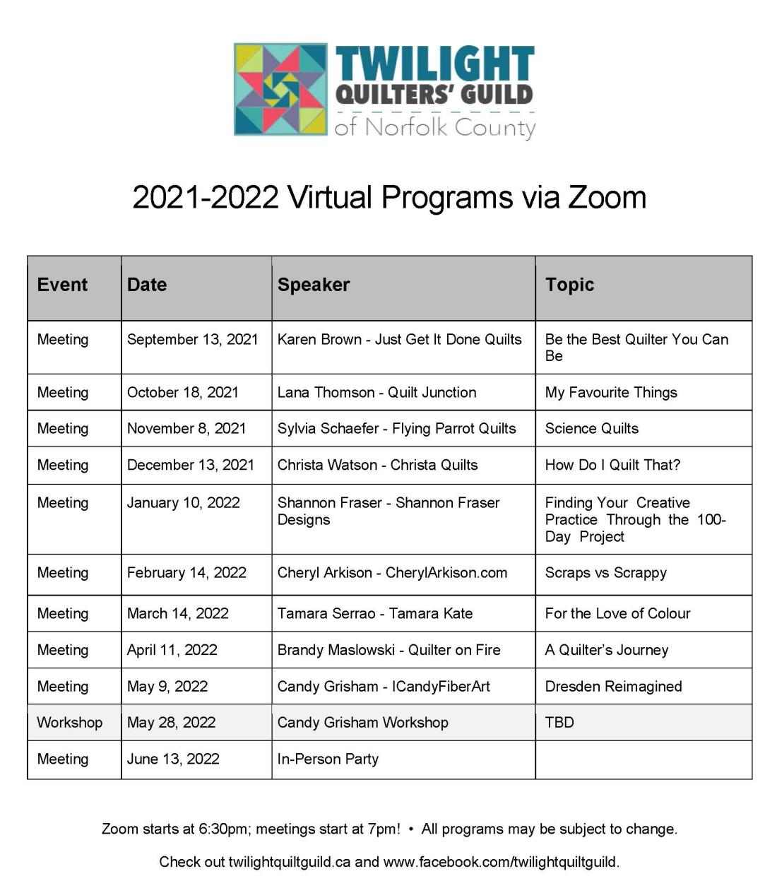 TQG 2021-22 Program
